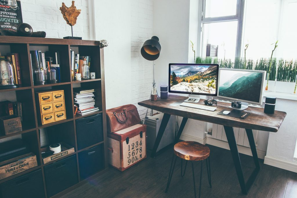 at home office space with rustic style, wooden office desk